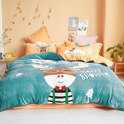 2019新款-法兰绒法莱绒大版卡通印花四件套 床单款四件套1.2m床-1.35m床 A鹿先森