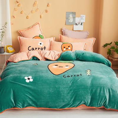 2019新款-法兰绒法莱绒大版卡通印花四件套 床单款四件套1.2m床-1.35m床 爱萝卜