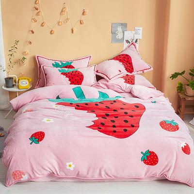2019新款-法兰绒法莱绒大版卡通印花四件套 床单款四件套1.2m床-1.35m床 草莓甜心
