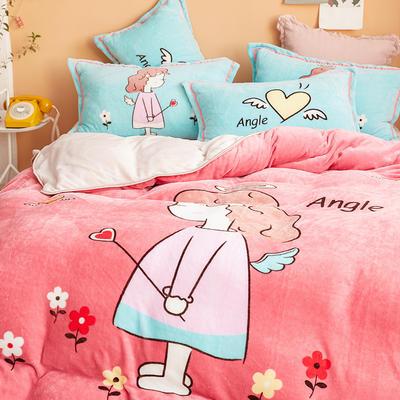 2019新款-法兰绒法莱绒大版卡通印花四件套 床单款四件套1.2m床-1.35m床 小天使