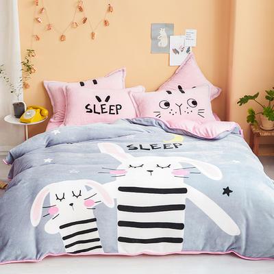 2019新款-法兰绒法莱绒大版卡通印花四件套 床单款四件套1.2m床-1.35m床 宅小兔