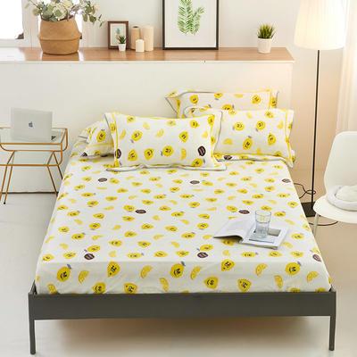 2019新款法兰绒金貂绒单品床笠 150x200+25cm 柠檬
