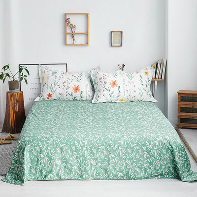 2019新款-全棉13372印花单品床单 160cmx230cm 幸运草-绿