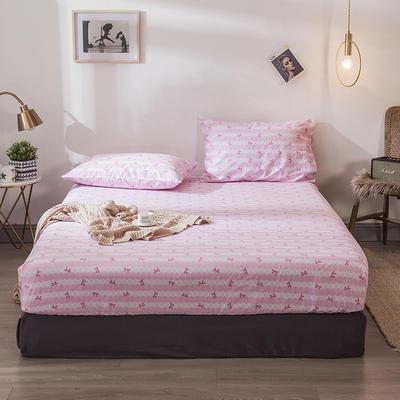 2019新款-全棉13372小清新风床笠款三件套 0.9m床 二件套 花朵粉