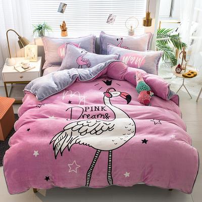2019新款-法兰绒法莱绒大版卡通印花四件套 床单款四件套1.2m床-1.35m床 爱情鸟