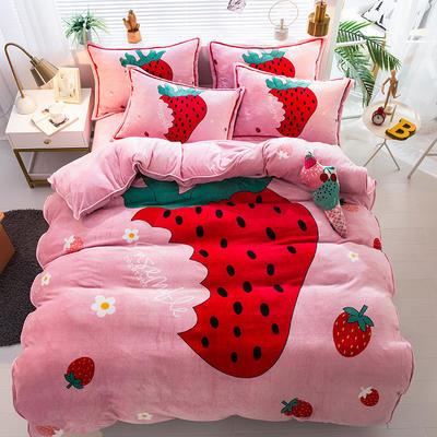 2020新款-法兰绒法莱绒大版卡通印花四件套 床单款四件套1.5m(5英尺)床 草莓甜心