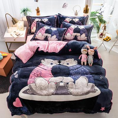 2020新款-法兰绒法莱绒大版卡通印花四件套 床单款四件套1.5m(5英尺)床 春天的熊