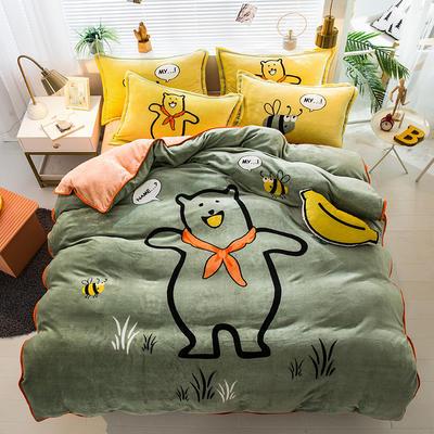 2019新款-法兰绒法莱绒大版卡通印花四件套 床单款四件套1.2m床-1.35m床 欢乐小熊