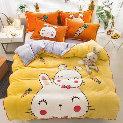 2020新款-法兰绒法莱绒大版卡通印花四件套 床单款四件套1.5m(5英尺)床 萌萌兔