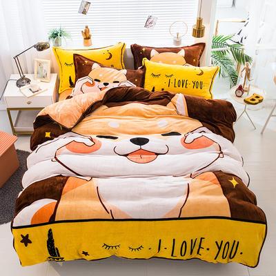 2020新款-法兰绒法莱绒大版卡通印花四件套 床单款四件套1.5m(5英尺)床 小可爱
