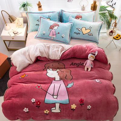 2020新款-法兰绒法莱绒大版卡通印花四件套 床单款四件套1.5m(5英尺)床 小天使