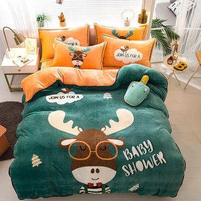 2020新款-法兰绒法莱绒大版卡通印花四件套 床单款四件套1.5m(5英尺)床 A鹿先森