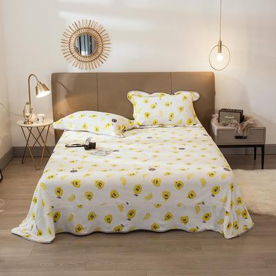 2019新款法兰绒金貂绒单品床单 250cmx245cm 柠檬