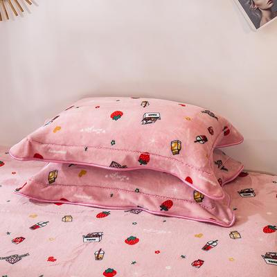 2019新款法兰绒金貂绒单品枕套 48cmX74cm/对 草莓物语
