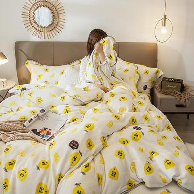 2019新款法兰绒法莱绒金貂绒四件套 1.2-1.35m床单款三件套 柠檬-1