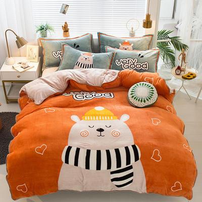 2020新款-法兰绒法莱绒大版卡通印花四件套 床单款四件套1.5m(5英尺)床 A大脸熊