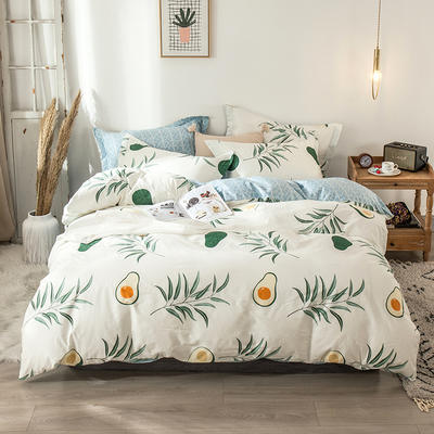 2020新款-小清新ins风四件套 床单款四件套1.5m(5英尺)床 牛油果
