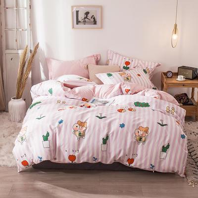 2020新款-小清新ins风四件套 床单款四件套1.5m(5英尺)床 侦探少女