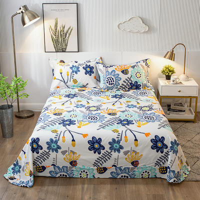 2020年新款-全棉印花单床单 180cmx230cm 太阳花-蓝