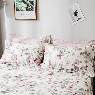 2020年新款-全棉印花单枕套 48cmX74cm/对 爱在花开