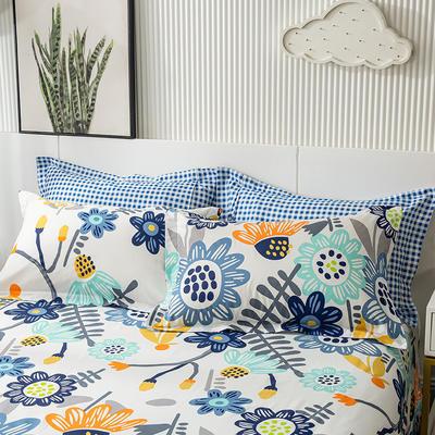 2021年新款-13372印花单枕套 48cmX74cm/对 太阳花-蓝