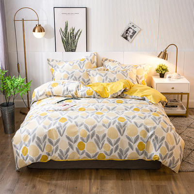 2021年新款-全棉13372印花四件套 床单款四件套1.5m(5英尺)床 爱柠檬