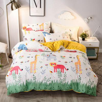 2021年新款-全棉13372印花四件套 床单款四件套1.5m(5英尺)床 动物之森