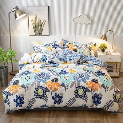 2020年新款-全棉13372印花四件套 床单款三件套1.2m(4英尺)床 太阳花-蓝