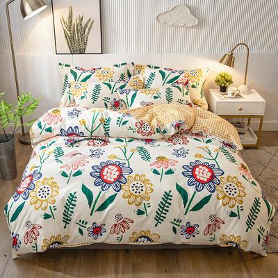 2021年新款-全棉13372印花四件套 床单款四件套1.5m(5英尺)床 太阳花-米黄