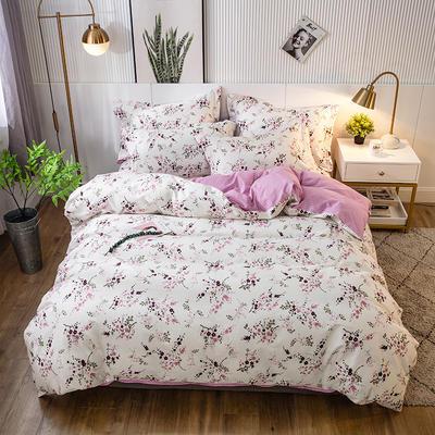 2021年新款-全棉13372印花四件套 床单款四件套1.5m(5英尺)床 幸福之花