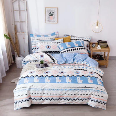 2020新款-小清新ins风四件套 床单款四件套1.5m(5英尺)床 爱羊驼