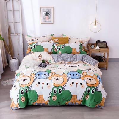 2020新款-小清新ins风四件套 床单款四件套1.5m(5英尺)床 快乐小熊
