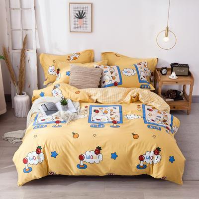 2020新款-小清新ins风四件套 床单款四件套1.5m(5英尺)床 萌小猫