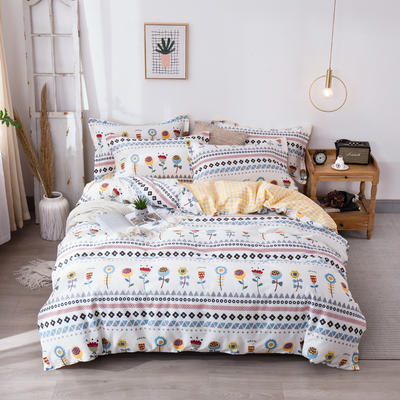2020新款-小清新ins风四件套 床单款三件套1.2m(4英尺)床 向阳花