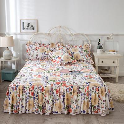 2021新款-韩版13372全棉印花单床裙 150x200+45 国色天香单床裙