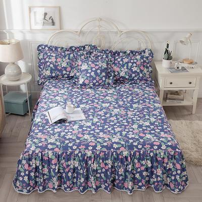 2021新款-韩版13372全棉印花单床裙 150x200+45 如花似玉单床裙