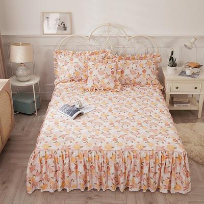 2021新款-韩版13372全棉印花单床裙 150x200+45 优雅迷人单床裙