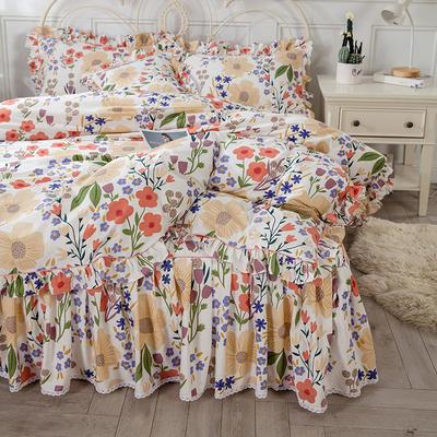 2021新款-韩版13372全棉印花四件套 1.8m被套加大床单款四件套 国色天香四件套