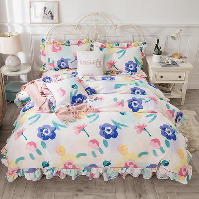 2021新款-韩版13372全棉印花四件套 1.8m被套加大床单款四件套 天生丽质四件套