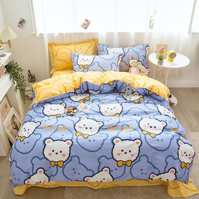 2021新款-小清新印花四件套 1.35m床单款三件套 金色小熊