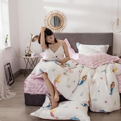 2021年新款-全棉13372印花四件套 床单款1.8被套加大四件套 美人鱼