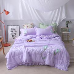 2019年夏季新品莫代尔手工花夏被四件套 花间漫步 1.5m(5英尺)床 梦幻紫