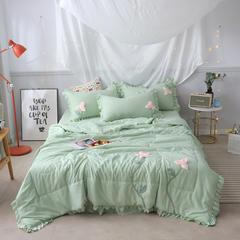 2019年夏季新品莫代尔手工花夏被四件套 花间漫步 1.5m(5英尺)床 清新绿