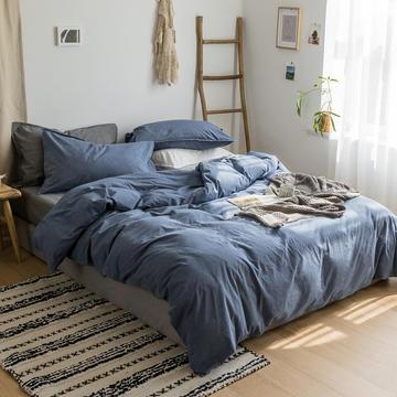 全棉色织水洗棉四件套北欧简约纯棉纯色被套床单床上用品三件套 1.2m床单款 深蓝灰