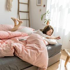 2019全棉色织水洗棉三件套四件套 1.2m(4英尺)床 浅粉灰