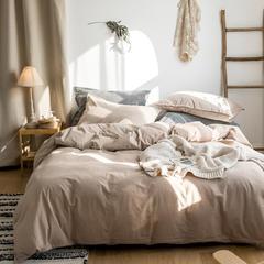 2019全棉色织水洗棉三件套四件套 1.2m(4英尺)床 浅驼白