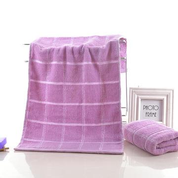 2018新款简约方格毛巾 紫色32*72cm