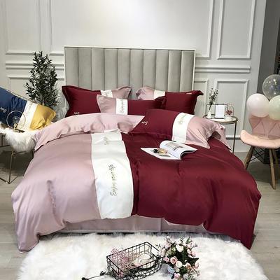 2019新款天丝四件套-爱丽丝(拼色) 1.8m(6英尺)床 爱丽丝-红粉