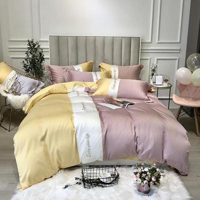 2019新款天丝四件套-爱丽丝(拼色) 1.8m(6英尺)床 爱丽丝-黄粉