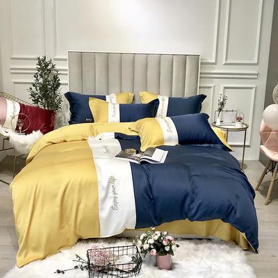 2019新款天丝四件套-爱丽丝(拼色) 2.0m(6.6英尺)床 爱丽丝-黄蓝